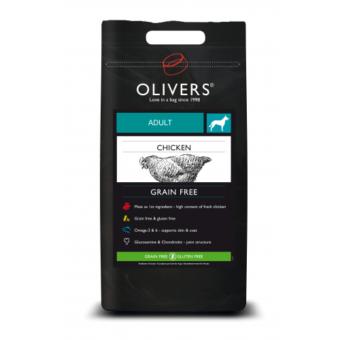 Olivers - spannmålsfritt torrfoder och hundfoder som fått bra betyg - med smak av kyckling
